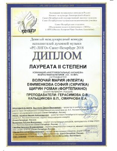 Диплом Ре-Лиго Волочай Ефименкова Щирин